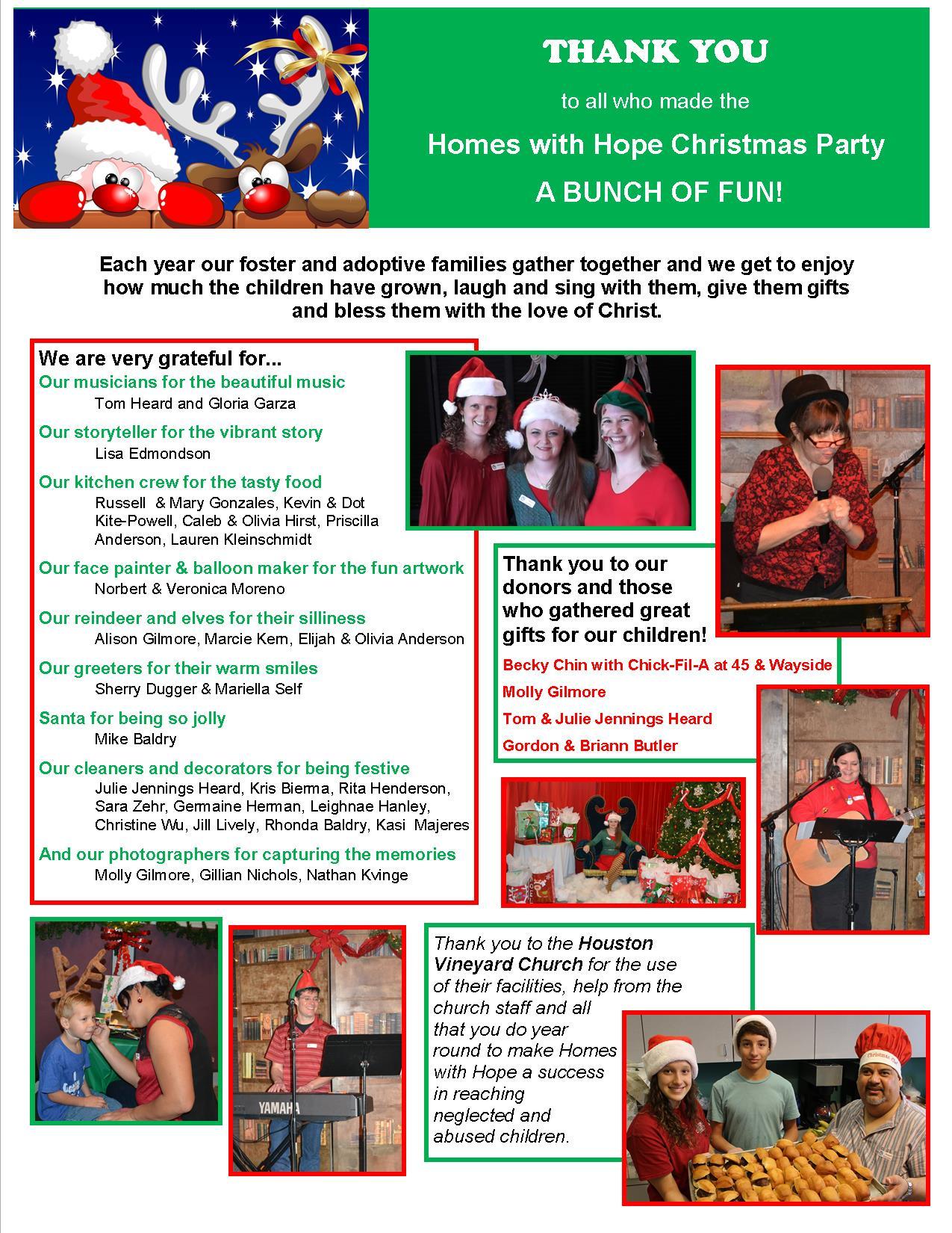 2014 Christmas thank you page